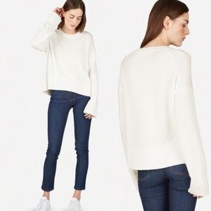EVERLANE Crew Neck White Cotton Knit Sweater